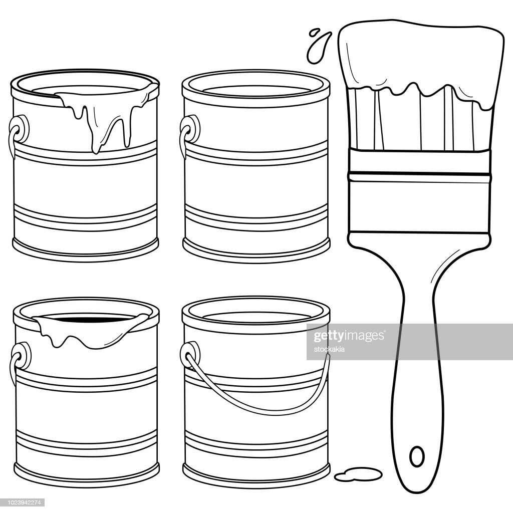 Paint cans and a brush. Black and white coloring book page
