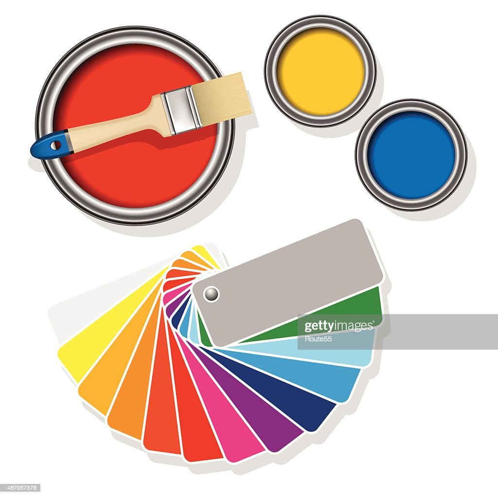 Paint cans with coloured swatches