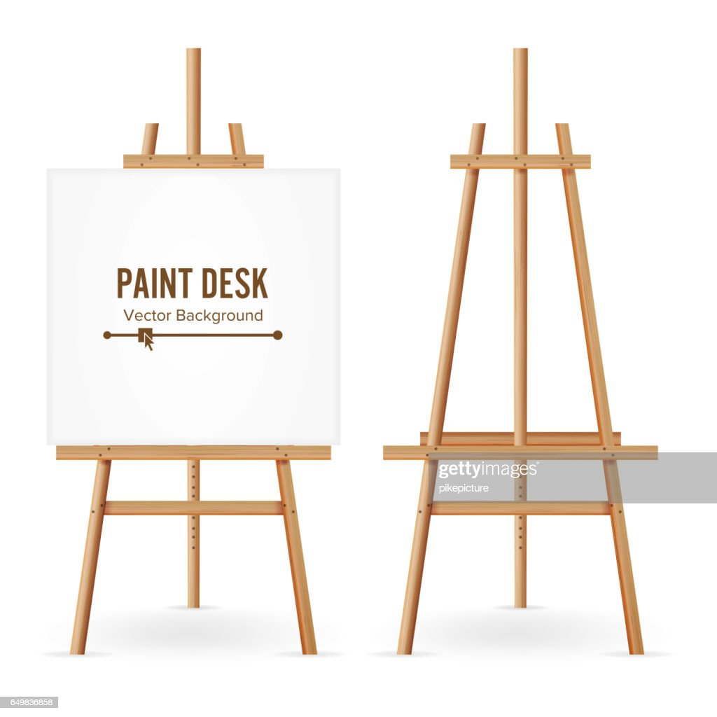 Paint Desk Vector. Wooden Easel Template With White Paper. Isolated On White Background. Realistic Painter Desk Set. Blank Space For Web Design