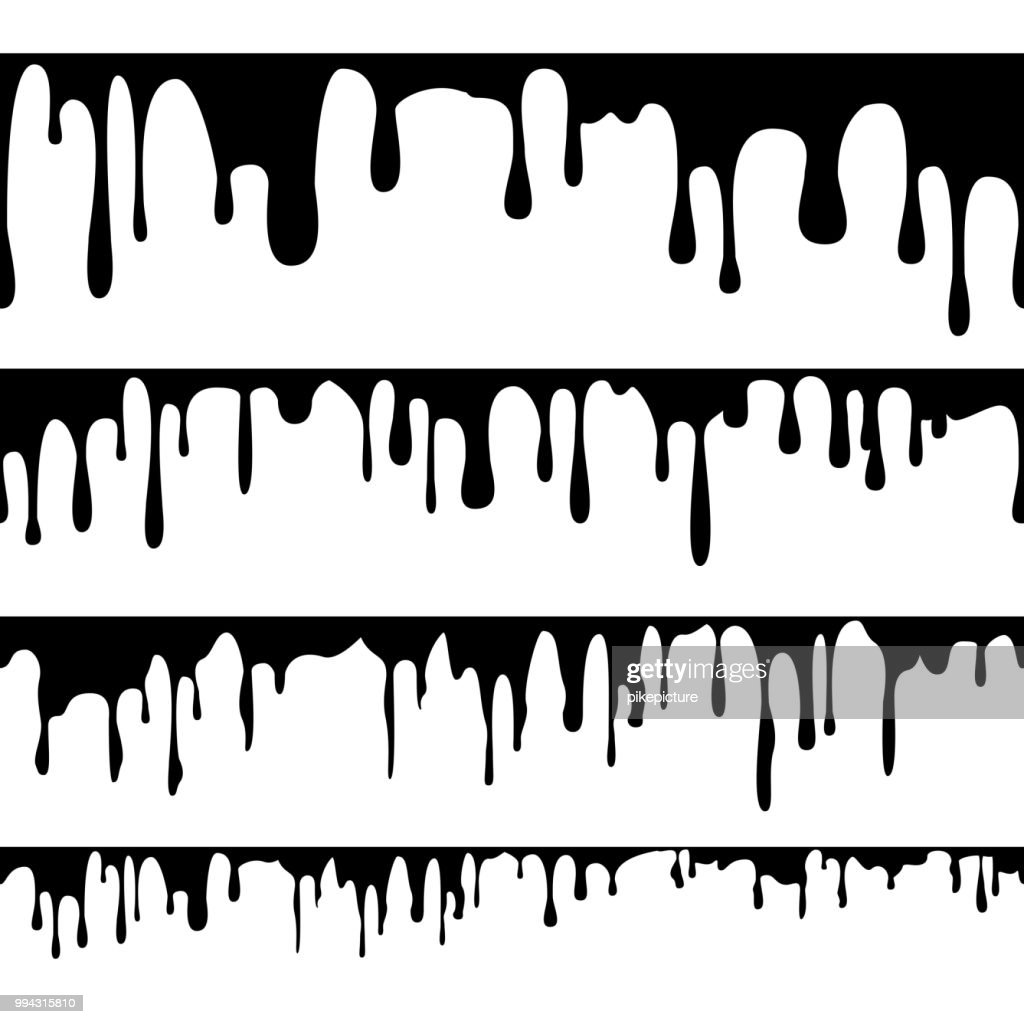 Paint Dripping Liquid Vector. Horizontal Seamless. Abstract Ink, Paint Flows. Grunge Design. Isolated Illustration