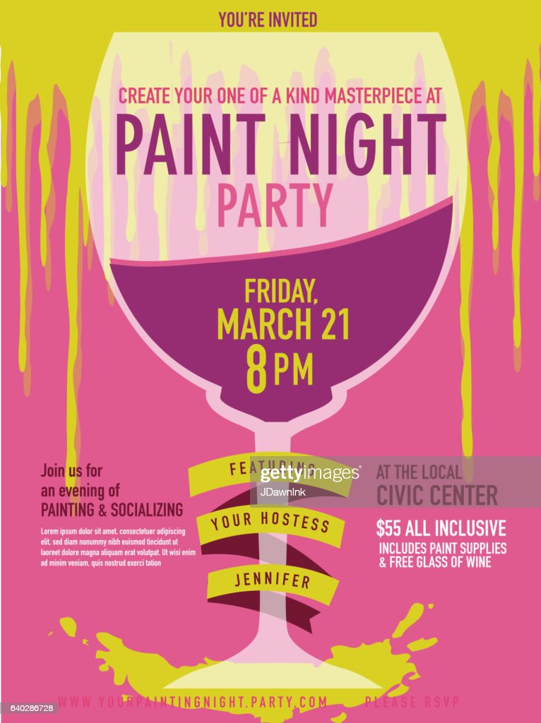 paint night party invitation with wine glass and paint drips