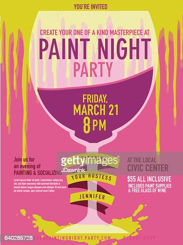 Paint Night Party Invitation With Wine Glass And Paint