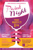 Paint night Party invitation with wine glass and watercolor texture