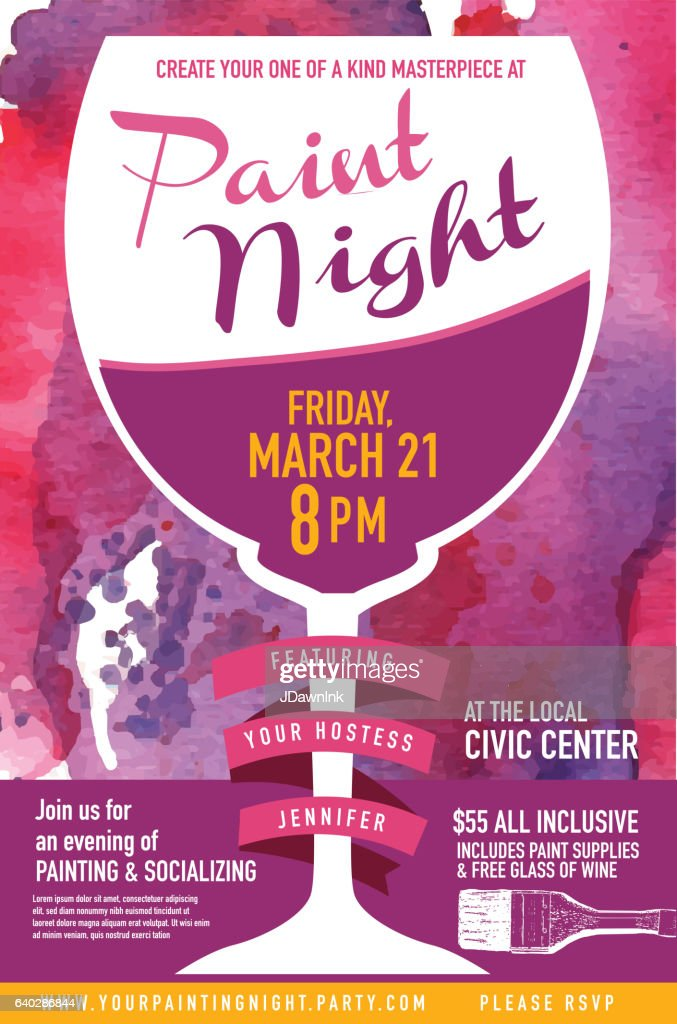 Paint Night Party Invitation With Wine Glass And Watercolor Texture ...