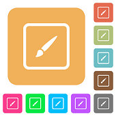 Paint object rounded square flat icons