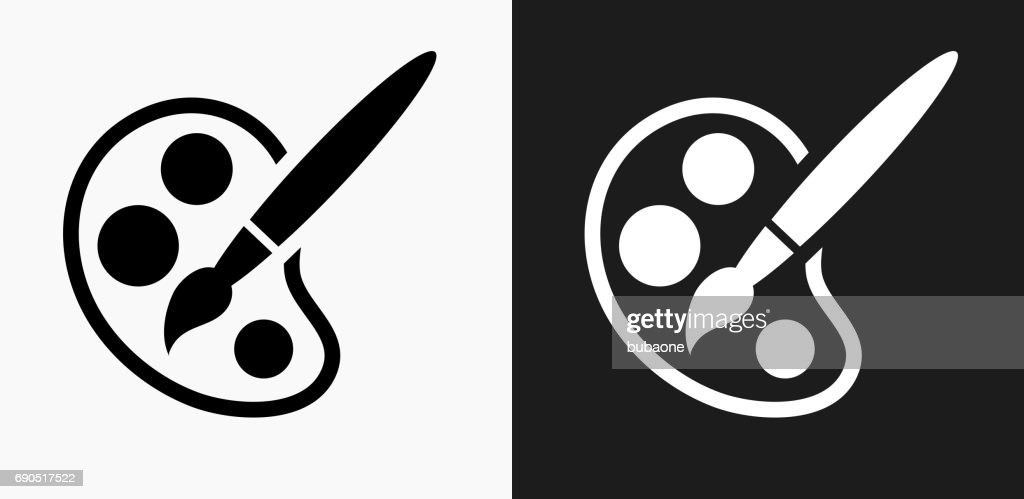 Paint Palette and Brush Icon on Black and White Vector Backgrounds