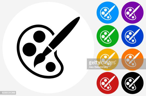 paint palette and brush icon on flat color circle buttons - {{relatedsearchurl('racing')}} stock illustrations, clip art, cartoons, & icons