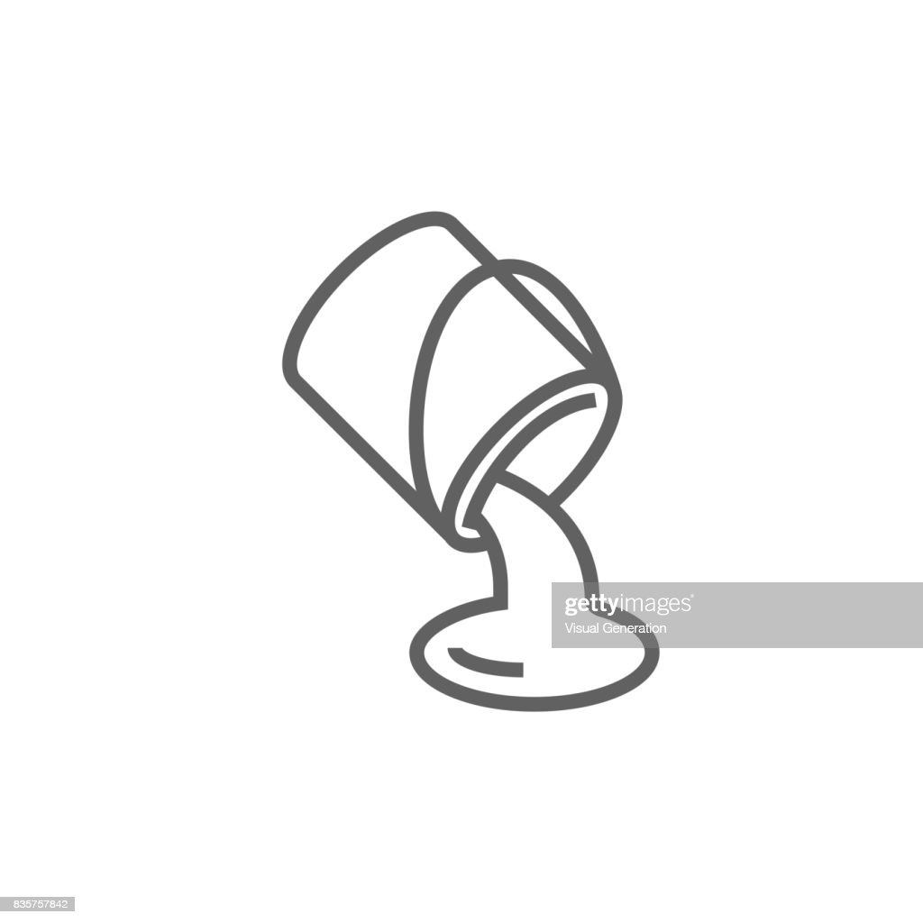 Paint pouring from bucket line icon