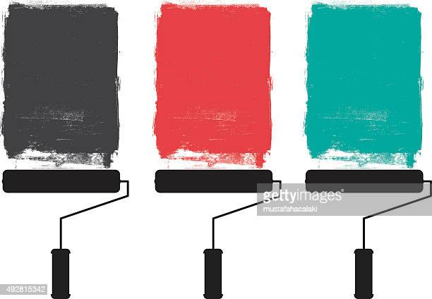 paint roller and grunge paints - woodcut stock illustrations