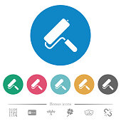 Paint roller flat round icons
