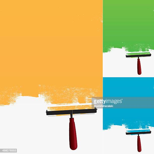 Paint roller with grunge background