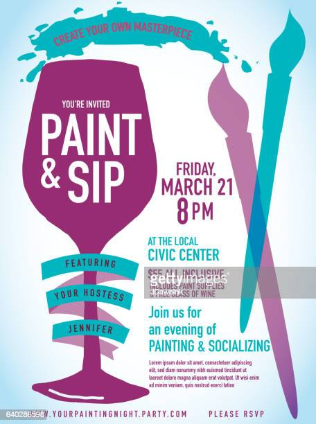Paint sip night Party invitation with wine glass and brushes