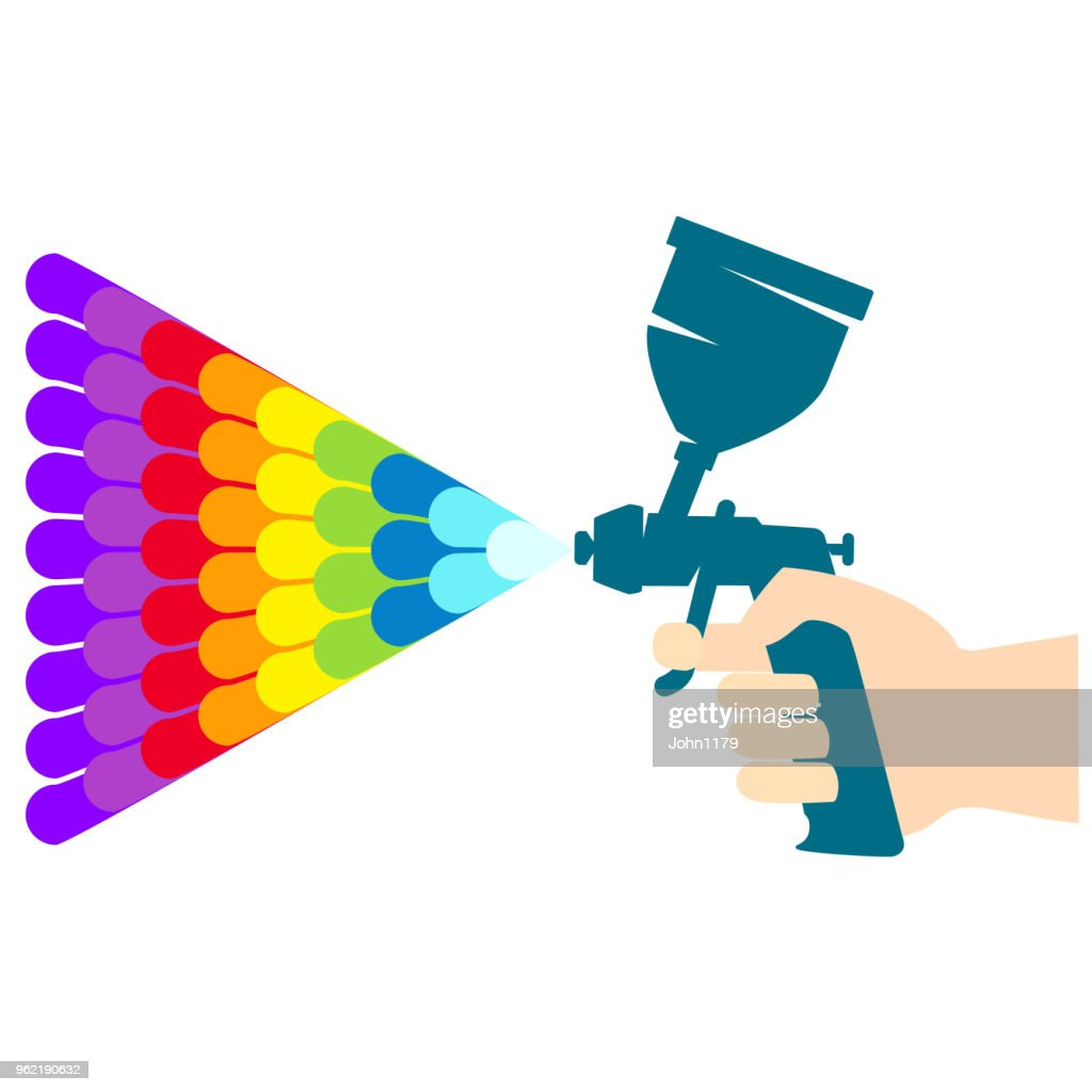 Paint spray gun with color paint