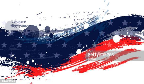 paint stroke american flag - flag stock illustrations