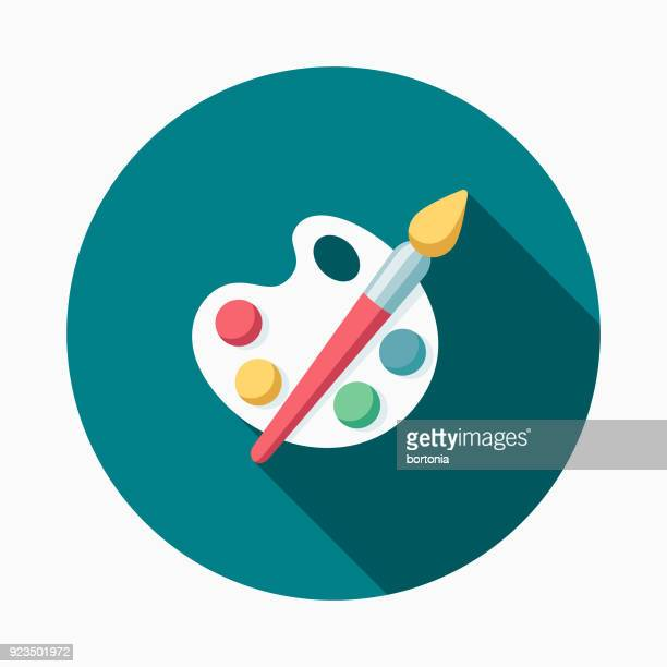 paint supplies flat design easter icon with side shadow - artist's palette stock illustrations