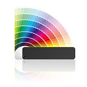 Paint swatch color guide with every color of the rainbow