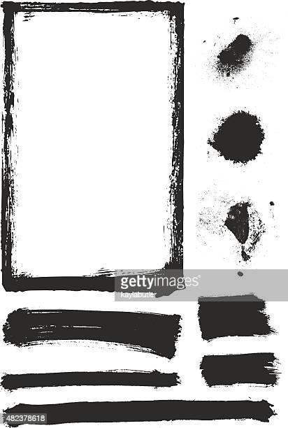 ilustraciones, imágenes clip art, dibujos animados e iconos de stock de elemento de pintura de textura de - cepillar