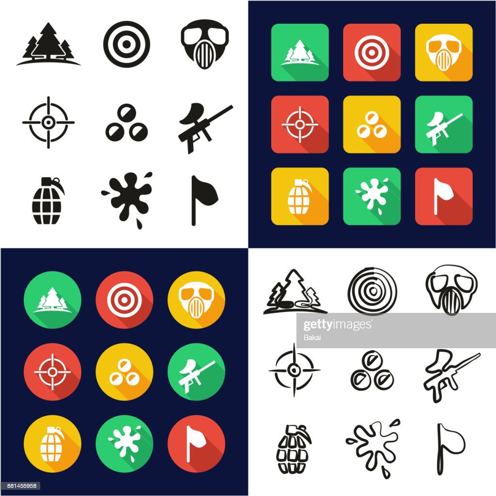 Paintball All in One Icons Black & White Color Flat Design Freehand Set