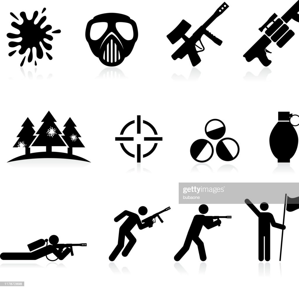 paintball black and white royalty free vector icon set