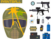 Paintball club icons protection uniform and sport game design elements equipment target vector illustration