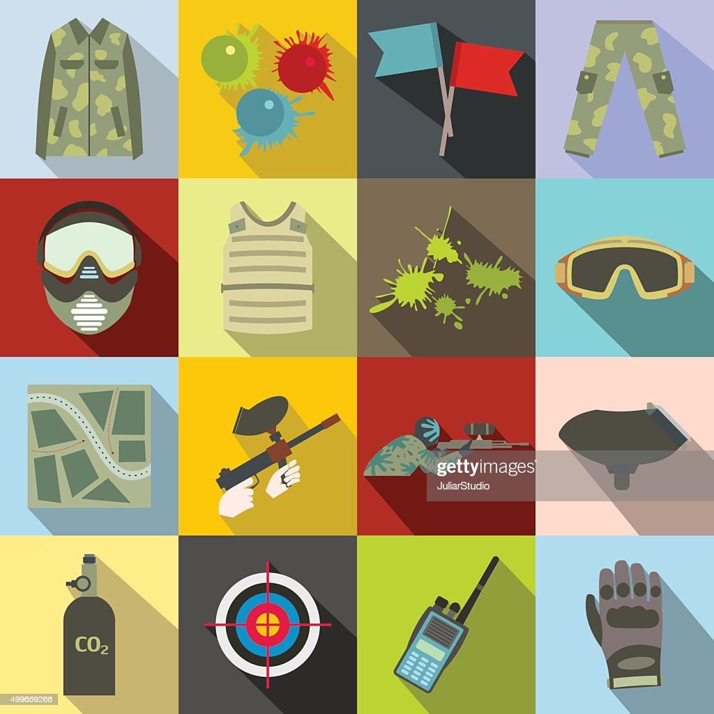 Paintball game flat icons set
