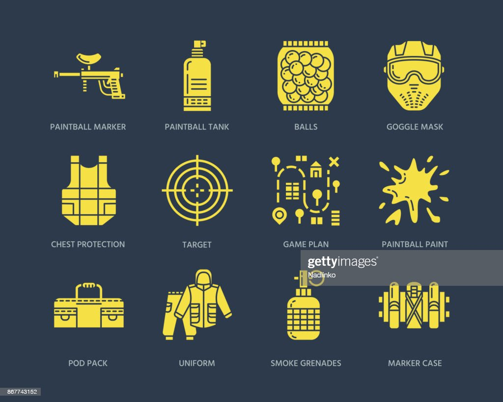 Paintball game line icons. Extreme leisure equipment, paint ball marker, uniform, mask, chest protection. Outdoor sport glyph signs on dark background