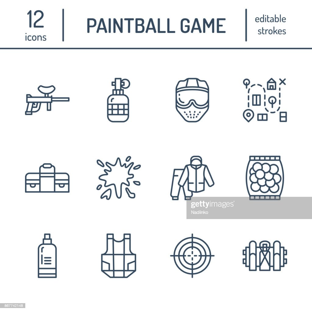 Paintball game line icons. Outdoor sport equipment, paint ball marker, uniform, mask, chest protection. Extreme leisure thin linear signs