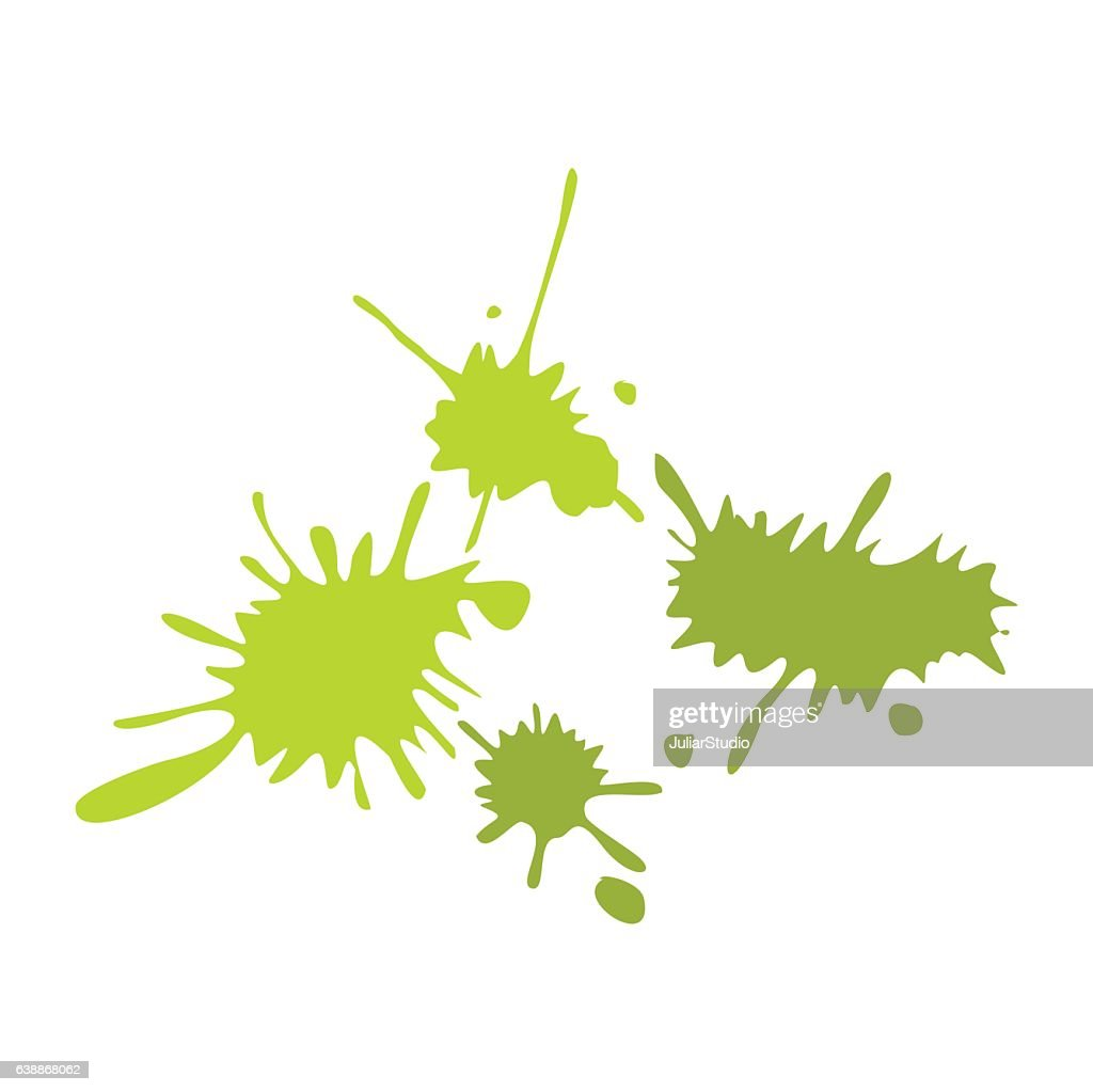 Paintball green blots flat icon