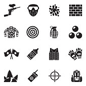Paintball Icons. Black Flat Design. Vector Illustration.