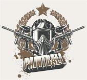 Paintball mask & gun