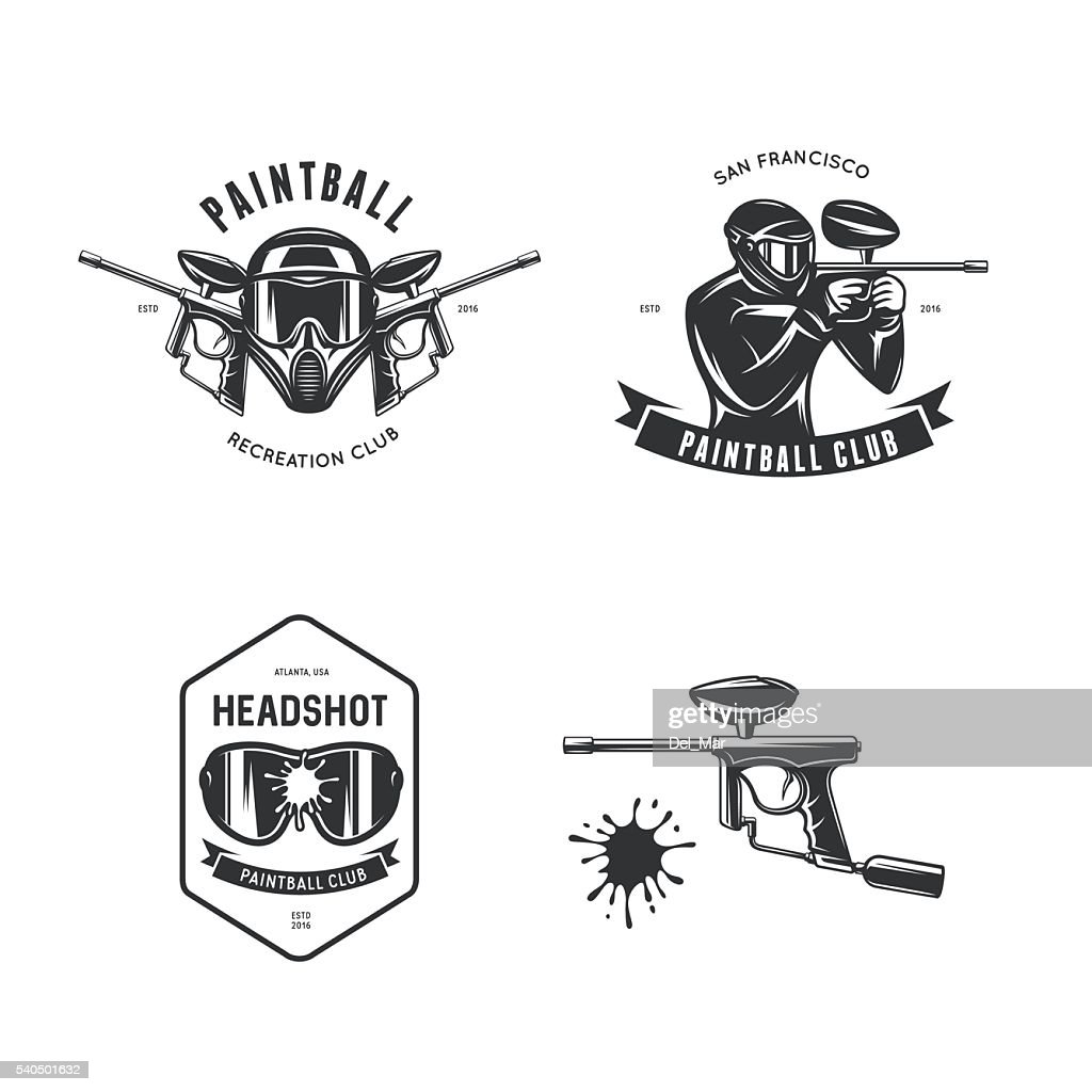 Paintball related design elements set. Vector vintage illustration.