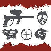 Paintball vector set of design elements
