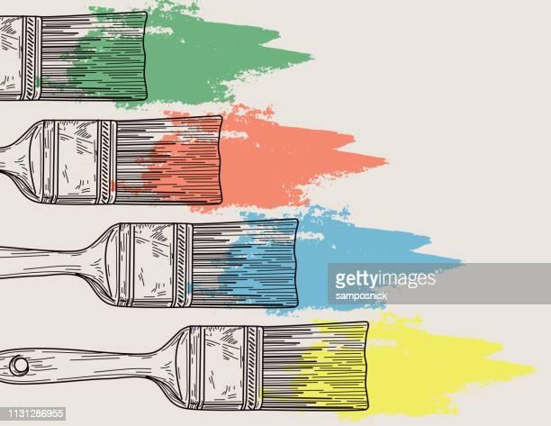 pinsel-und lackierergrund - pinsel stock-grafiken, -clipart, -cartoons und -symbole