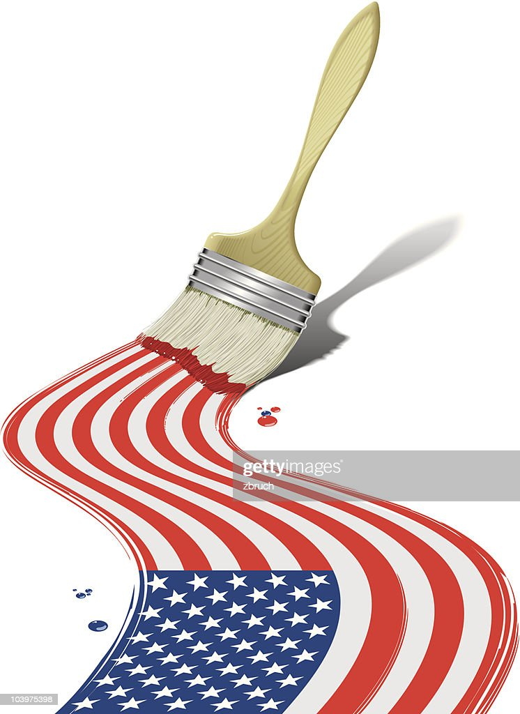 Paintbrush painting American flag
