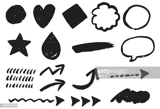 ペイントブラシパターン - 書道点のイラスト素材/クリップアート素材/マンガ素材/アイコン素材