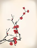 Painted branch with red blossoms on an off white background