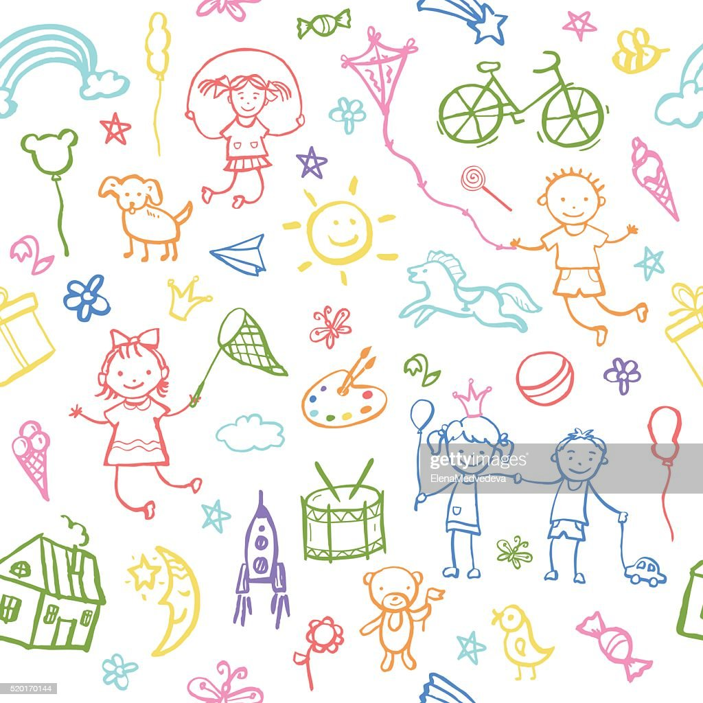 Painted by hand in doodle style seamless pattern.