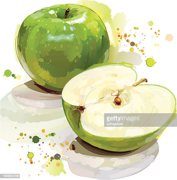 Painted green apple cut in half