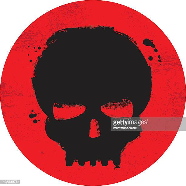 painted grunge skull symbol on red background - human skull stock illustrations