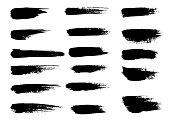 Painted grunge stripes set. Black labels, background, paint texture. Brush strokes vector. Handmade design elements