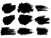 Painted grunge stripes set. Black labels, background, paint texture. Brush strokes vector. Handmade design elements.