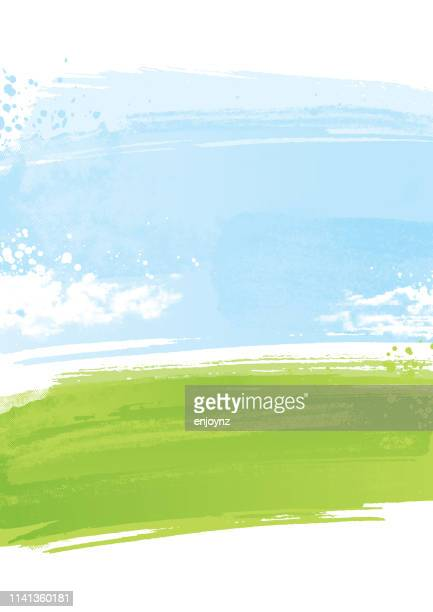 painted landscape background - cloud sky stock illustrations