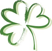 A painted outline of shamrock with three leaves