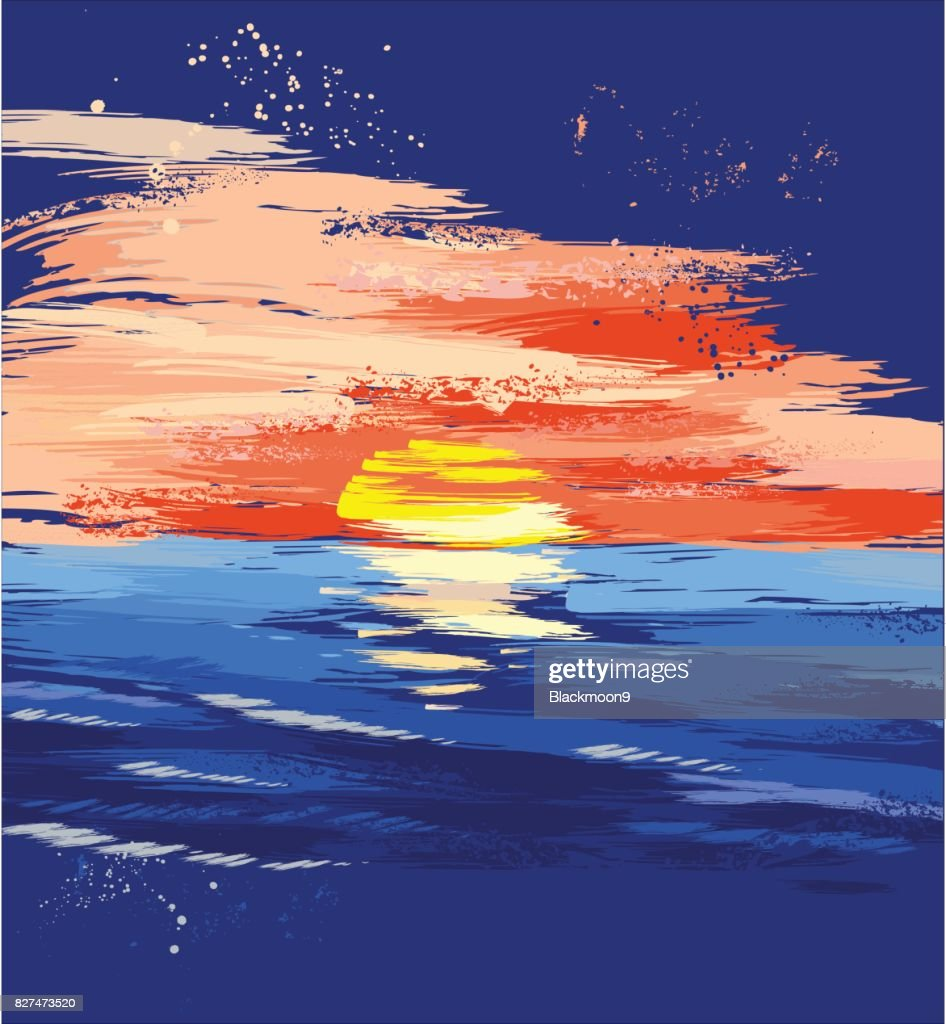 painted sunset on the sea