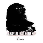 Painted with brush strokes piano. Vector illustration.