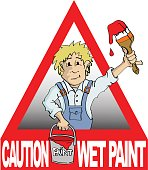 painter holding brush and bucket signs caution wet paint
