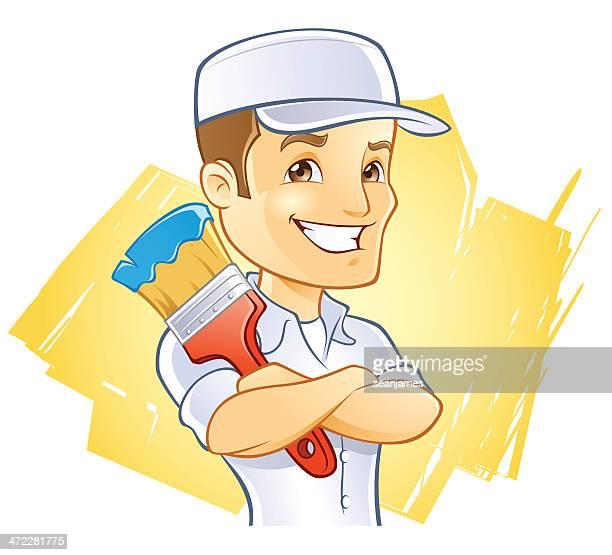 ilustraciones, imágenes clip art, dibujos animados e iconos de stock de pintor en sombrero con cepillo de pintura - pintores de brocha gorda