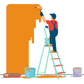 Painter painting wall