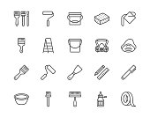 Painter tools flat line icons set Home renovating equipment roller paintbrush ladder masking tape, respirator vector illustrations. Outline signs interior design. Pixel perfect 64x64 Editable Strokes