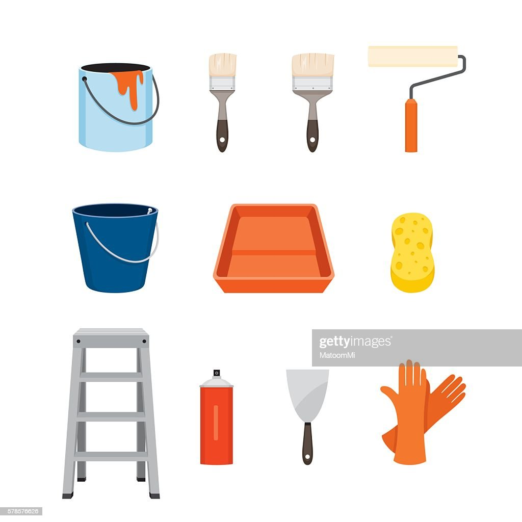Painter Tools Objects Icons Set